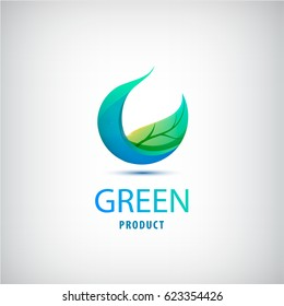 vector green leaf, nature, organic icon, circle logo isolated