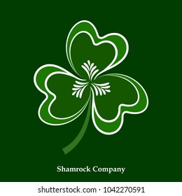 Vector Green Leaf Shamrock Icon. Happy Patrick Day Holiday