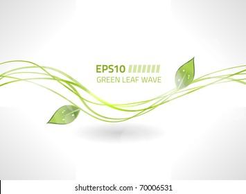 Vector green leaf wave background for your design