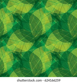 Vector green leaves pattern. Floral background