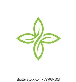 Vector Green Leaves Serial 3 7 Logo