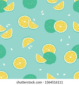 Vector green lime tropical beach resort spa repeat pattern. Suitable for gift wrap, textile and wallpaper. Surface pattern design.