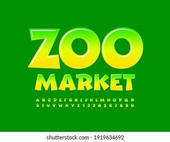 Vector green logo Zoo Market. Playful glossy Font. Gradient set of Alphabet Letters and Numbers