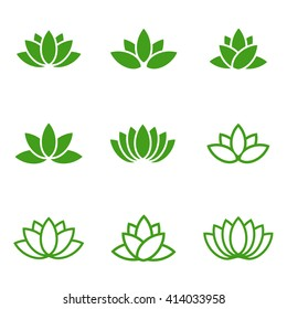 Vector green lotus icons set on white background.