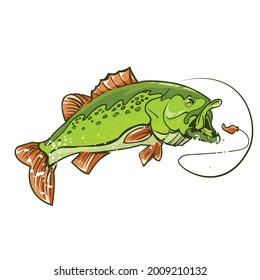 Vector Green Lunker Bass Illustration.