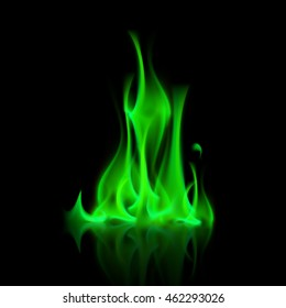 Vector Green Magic Fire Isolated on Black Background