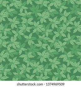 Vector green monotone hand drawn leaves repeat pattern. Suitable for gift wrap, textile and wallpaper. Surface pattern design.