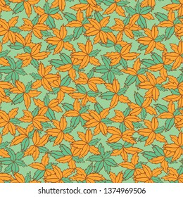 Vector green and orange hand drawn leaves repeat pattern. Suitable for gift wrap, textile and wallpaper. Surface pattern design.