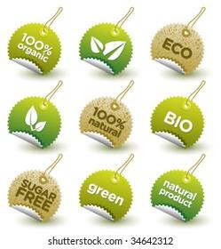 Vector green organic labels [4]