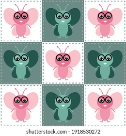 Vector green and pink bee patchwork seamless pattern background on white surface. Good use for home decor. bedding, fabric, wallpaper, tiles and many more.