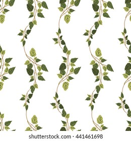 Vector green plants seamless pattern background with abstract plants with leaves and branches forming a floral texture.