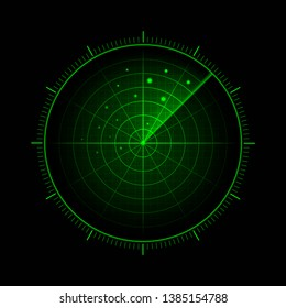 Vector green radar. HUD radar display. Military search system. Vector EPS10.