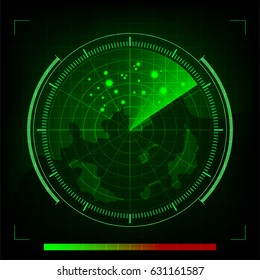 Vector green radar in searching on Black Background