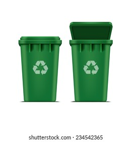 Vector Green Recycle Bin for Trash and Garbage Isolated on White Background