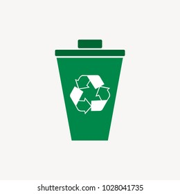 Vector green recycling trash bin ecological icon illustration