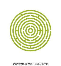 Vector green Round maze or circular hedge garden labyrinth. Maze puzzle symbol is great as metaphor for problem solution strategy.