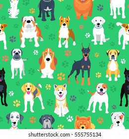 Vector green seamless background with dogs flat design.