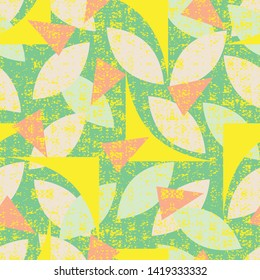 Vector green seamless pattern of colorful abstract geometric shapes with grunge texture. Suitable for textile, gift wrap and wallpaper.