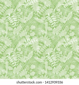 Vector green seamless pattern with transparent ferns, leaves and wild flower. Suitable for textile, gift wrap and wallpaper.