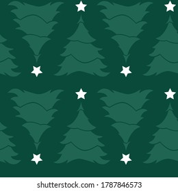 Vector green simple monochrome rows of alternate upside down christmas trees with star seamless background. Suitable for textile, gift wrap and wallpaper.