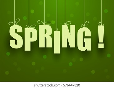 vector green spring background with spring lettering.