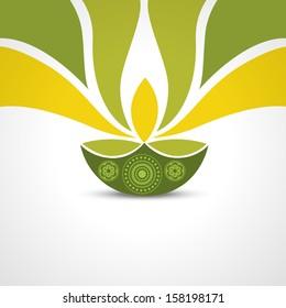vector green style happy diwali design