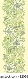 Vector Green Succulent Plants vertical Seamless Pattern Ornament Background Texture With hand drawn doodle seaweed.