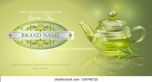 Vector green tea banner with transparent teapot and tea leaves. Design for packaging, drink menu, aromatherapy and tea products. Only free fonts used. Font names included in the layers.