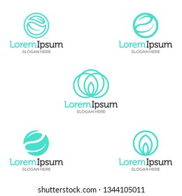 Vector green tech and spa Logo template set. Leafs in a yin yang / recycle / spiritual fashion logo design.