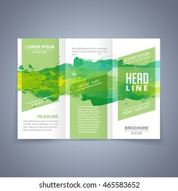 Vector green template of flyer or tri fold brochure with watercolor background