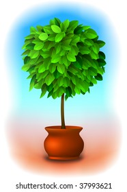 Vector green topiary tree in a pot over a nice, delicate background