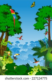 vector Green Tropical Forest jungle Landscape with Trees and animals