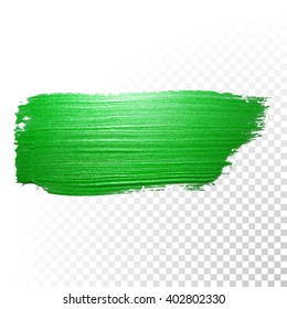 Vector Green watercolor brush stroke. Green varnish splash line trace. Green shape oil paint smear on transparent background.