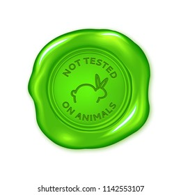 Vector green wax seal isolated on white, not tested on animals, cruelty free, vegan product
