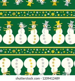 Vector green, white and gold funky snowmen and stars linear seamless pattern background. Perfect for seasonal giftwrap, invitations, stationery, quilting and fun scrapbooking  and marketing projects.