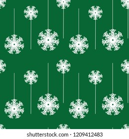 Vector green, white ornamental snowflakes linear seamless pattern background. Perfect for seasonal giftwrap, invitations, stationery, quilting and fun scrapbooking and marketing projects.