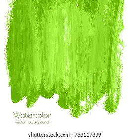 Vector greenery watercolor texture background with dry brush stains, strokes, spots isolated on white. Abstract artistic lime green grass frame, place for text. Acrylic hand painted gradient backdrop.
