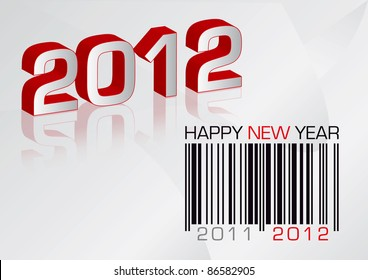 Vector greeting card 2012 with barcode