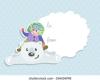 Vector greeting card with baby babble snowman, polar bear for your design