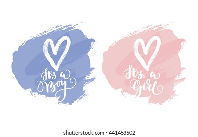 Vector greeting card.  Baby shower card. Baby announcement card design element. It's a boy lettering, it's a girl lettering.