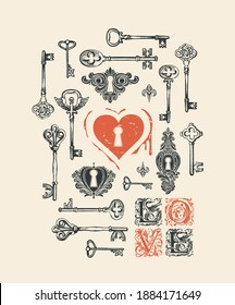 Vector greeting card or banner on the theme of love and Valentine day with hand-drawn vintage keys, ornate initial letters L O V E and red heart with keyhole in retro style. The keys to the heart.