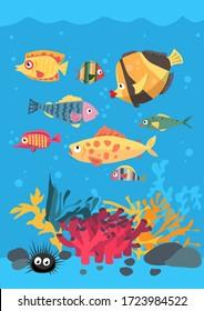 Vektor-Grußkarte hellfarbigen Cartoon unter Wasser Welt der Fische und Pflanzen