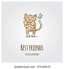 Vector greeting card with cute cartoon  cat and a bird. Animals  are best friends.
