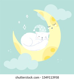 Vector greeting card, cute sleeping kitten on a moon illustration