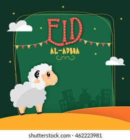 Vector greeting card design with cute Baby Sheep in front of Mosque on Desert background for Muslim Community, Festival of Sacrifice, Eid-Al-Adha Mubarak.