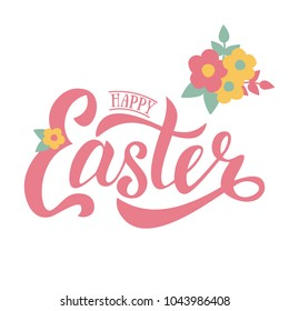 Vector greeting card for Easter. Flat design spring banner. Lettering modern calligraphy style for banner, invitation. Happy Easter hand sketched logotype. EPS 10