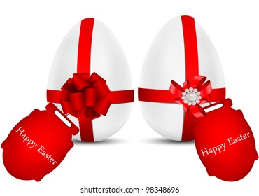 vector greeting card with eggs, dedicated to Happy Easter Day