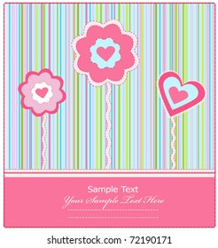 vector greeting card with flowers and heart on a striped background