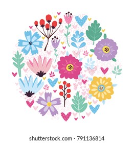 vector greeting card with flowers and hearts. use for Valentine's Day, background, wallpaper, fabric, packaging