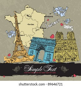 Vector greeting card with french motives. Place for your text.